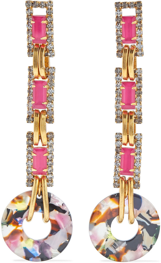 Elizabeth Cole Hannahlee 24-karat Gold-plated, Crystal And Marbled Acetate Earrings