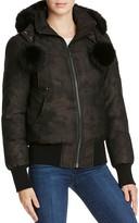 Moose Knuckles Camo Fur Trim Bomber Down Jacket