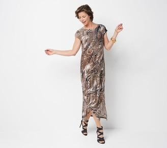 Bob Mackie Regular South Sea Feather Print Maxi Dress