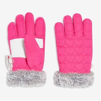 Joe Fresh Kid Girls' Faux Fur Trim Gloves, Fuchsia (Size L/XL)