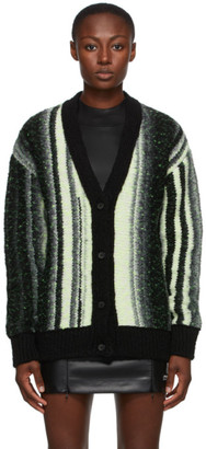 032c Black and Yellow Striped Logo Cardigan