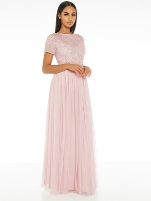 Quiz Hand Embellished Sequin Round Neck Tulle Bridesmaid Maxi Dress - Pink