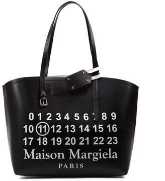 Maison Margiela Black Leather Printed Tote Bag