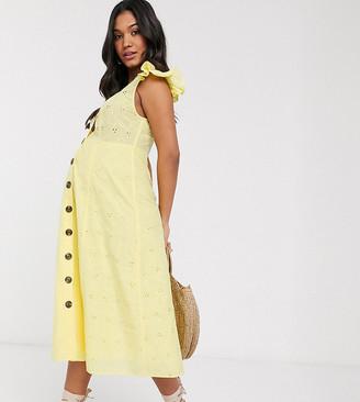 ASOS DESIGN Maternity lemon broderie button through midi sundress in yellow