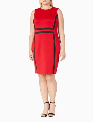 Calvin Klein Plus Size Colorblock Sleeveless Sheath Dress