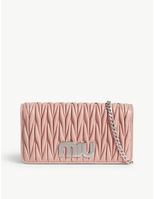 Miu Miu Miu Pink Quilted Matelasse Leather Wallet On Chain