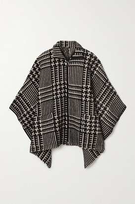 Akris Checked Cashmere And Mulberry Silk-blend Jacquard Cape - Black