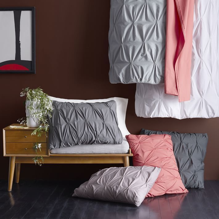 west elm Organic Cotton Pintuck Duvet Cover + Shams - Slate