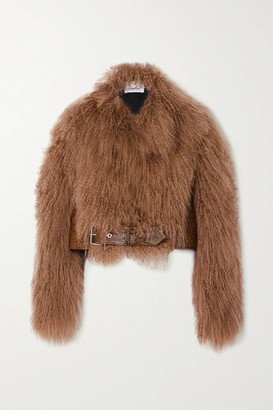 Burberry Cropped Snake-effect Leather-paneled Shearling Jacket - Brown