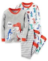 Carter's 4-Piece Dinosaur Pajama Set in White