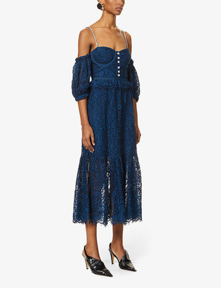 Self-Portrait Off-the-shoulder cotton-blend lace midi dress