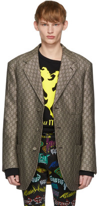 Gucci Brown and White GG Supreme Wool Blazer