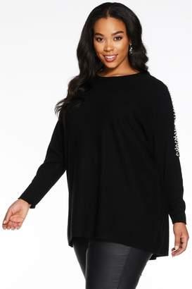 Quiz Womens Curve Light Knit Lace Sleeve Jumper Dress - Black