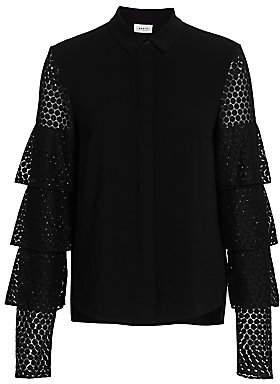 Akris Punto Women's Tiered Lace-Sleeve Blouse