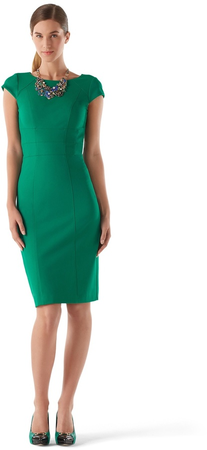 White House Black Market Green Cap Sleeve Sheath Dress