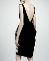 Lanvin Open-Back Floral Dress, Navy/Gray