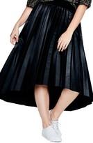 Plus Size Women's Elvi Pleated Dip Hem Faux Leather Skirt