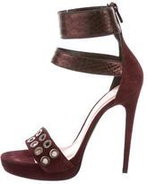 Barbara Bui Snakeskin-Trimmed Embellished Sandals