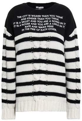 Each X Other Embroidered French Terry-paneled Striped Cable-knit Wool And Cashmere-blend Sweater