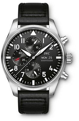IWC Pilot Stainless Steel & Leather Strap Chronograph Watch