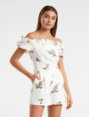 Forever New Emily Off Shoulder Playsuit - Floral embroidery - 12