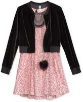 Beautees 2-Pc. Bomber Jacket, Dress & Keychain Set, Big Girls (7-16)