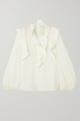 Chloé Ruffled Pintucked Silk Crepe De Chine Blouse - Ivory