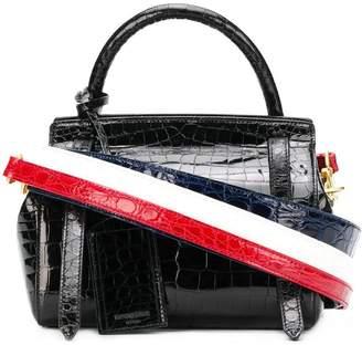 Thom Browne 3-Strap Small Crocodile Leather Bag