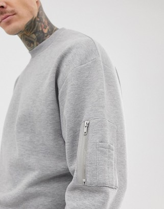 Asos Design DESIGN oversized sweatshirt with MA1 pocket in grey marl