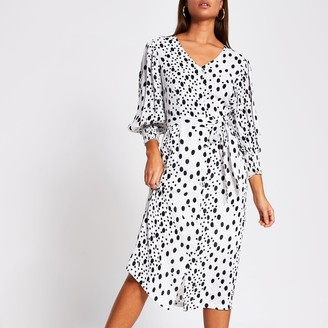 River Island Womens White long sleeve tie waist print midi dress