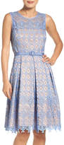 Eliza J Belted Lace Fit & Flare Dress