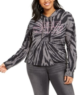 Mighty Fine Trendy Plus Size Star Wars Graphic Tie-Dyed Cropped Hoodie