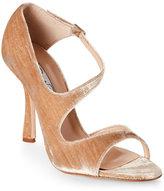 Oscar de la Renta Beige Oberon Open Toe High Heel Velvet Sandals