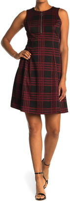 London Times Plaid Sleeveless O-Ring Zip Dress