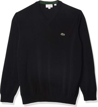 Lacoste Men's Long Sleeve V Neck Cotton Jersey Sweater