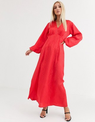 Asos Design DESIGN maxi dress with puff sleeves in jacquard-Red