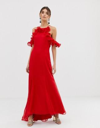 Keepsake Embrace ruffle gown-Red