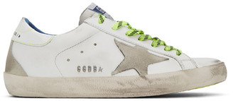 Golden Goose White Fluorescent Superstar Sneakers