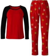 Red & Black Festive String Light Pajama Set - Women & Plus