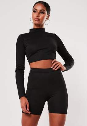Missguided Black Crop Top And Cycling Short Co Ord Set