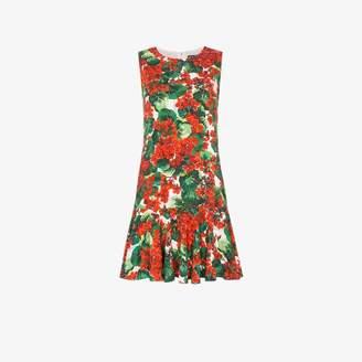 Dolce & Gabbana Cady floral print flounce hem dress