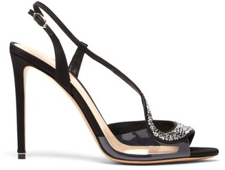 Nicholas Kirkwood S Crystal Embellished Slingback Leather Sandals - Black Silver