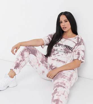 Yours tie dye california print co-ord t-shirt in pink