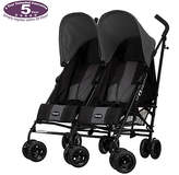 O Baby Obaby Apollo Black and Grey Twin Stroller - Grey