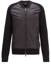 HUGO BOSS - Zip Through Jacket With Ribbed Sleeves And Accent Details - Black