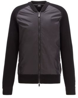 HUGO BOSS Zip Through Jacket With Ribbed Sleeves And Accent Details - Black