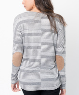 Charcoal Stripe Elbow-Patch Tunic