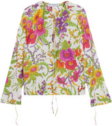 Balenciaga Floral-print Crinkled Silk-blend Blouse - Green