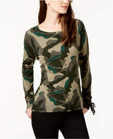 INC International Concepts I.n.c. Lace-Up Camo-Print Sweater, Created for Macy's