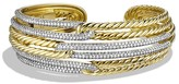 David Yurman Labyrinth Triple-Loop Cuff Bracelet with Diamonds and Gold